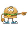 smiling happy cheese hamburger cartoon character vector image vector image