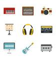 sound studio icon set flat style vector image vector image