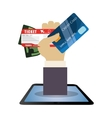 travel hand hold credit card ticket money dollar vector image