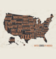 united states of america map print poster vintage vector image