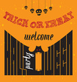 Welcome to Halloween Party Poster with hand vector image vector image