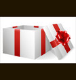 white festive box with a red bow vector image vector image