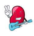 with guitar jelly bean mascot cartoon vector image