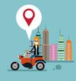 woman motorcycle location urban background vector image vector image