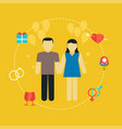 young couple wedding concept with icons vector image vector image