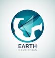 Earth logo design made of color pieces vector image