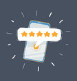 5 star on phone sceen vector image vector image