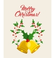 bell and leaves icon Merry Christmas design vector image vector image