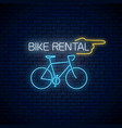 bicycle rent glowing neon sign with pointer vector image vector image
