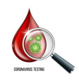 blood testing concept with blood drop and virus vector image vector image