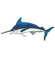 cartoon blue marlin vector image vector image