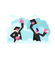 characters in graduation gowns and caps rejoice vector image vector image