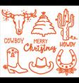 christmas icons cowboy merry set vector image