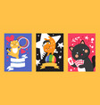 circus cat banner cute kitten pet trained animal vector image