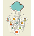 Cloud computing network sketch vector image vector image