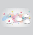 colorful balloon and cloud on watercolor sky vector image