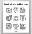 content marketing icons line pack vector image