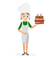 cook girl holding a beautiful cake in her hand on vector image