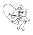 cupid with arch on heart sketch vector image