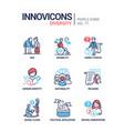 diversity concept line design style icons set vector image