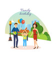 family celebrates birthday city landscape park vector image vector image