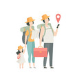 family travelling together with backpacks father vector image