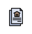 file document house flat color icon icon banner vector image