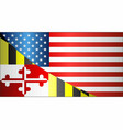 flag of usa and maryland state vector image vector image
