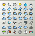 flat line weather icons vector image vector image