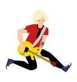 Flat man playing rock electric guitar music