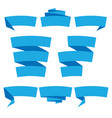 folded ribbon banner set collection blue label vector image vector image
