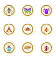 forest insects icons set cartoon style vector image vector image
