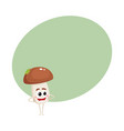 funny porcini mushroom character with smiling face vector image