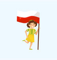 girl holding national flag of poland design vector image vector image