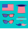 Glasses mustaches hat flag set Happy independence vector image