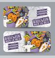 halloween banner set horizontal design vector image vector image