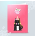 Happy Birthday postcard template with a cat vector image vector image
