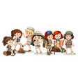 happy children in different actions vector image vector image