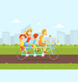 happy family riding tandem bicycle father mother vector image