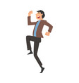 happy successful business man character running to vector image