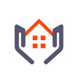 house home residence on hand logo icon concept vector image vector image