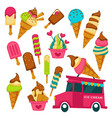 ice cream truck summer dessert waffle cone and vector image
