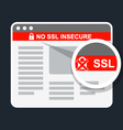 Insecure web page without ssl certificate vector image vector image