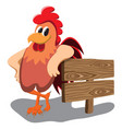 isolated cartoon rooster over white background vector image vector image