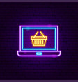 laptop basket neon sign vector image