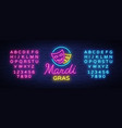 mardi grav is a neon sign bright glowing banner vector image