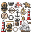marine nautical and seafarer icons vector image vector image