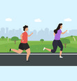 men and women jogging running people run in a vector image