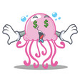 money eye cute jellyfish character cartoon vector image