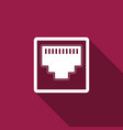 network port - cable socket icon with long shadow vector image